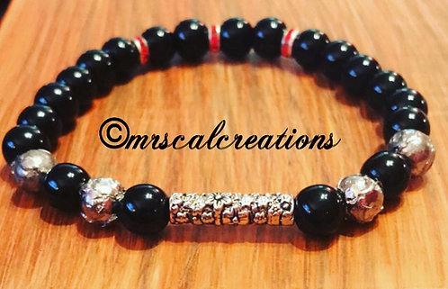 Men's Black And Silver Bracelet