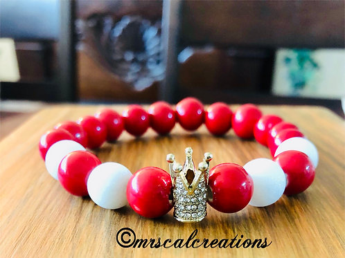 Red And White Crown Bracelet