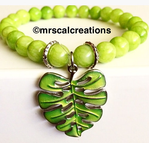 Lime Green Tropical Leaf Bracelet!