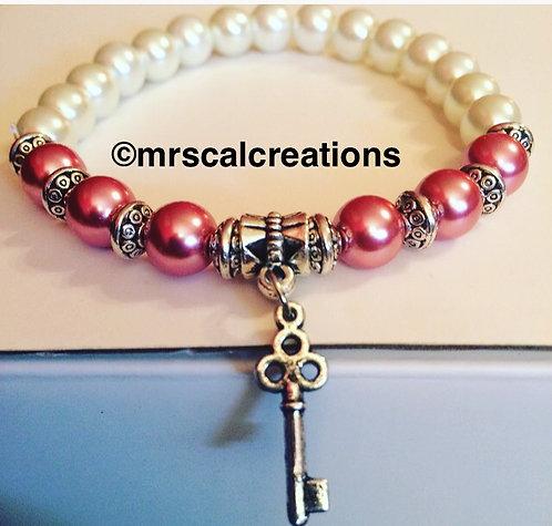 Pink Pear Key Bracelet