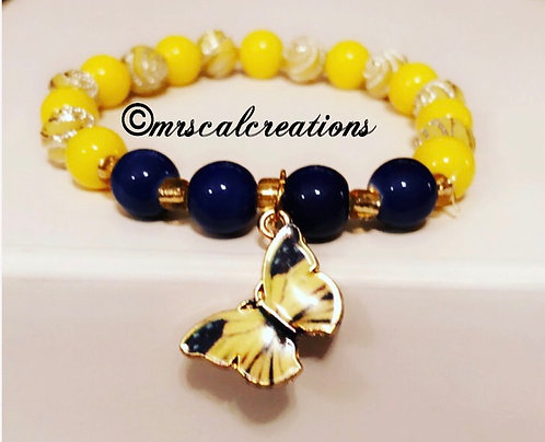 Yellow and blue butterfly bracelet