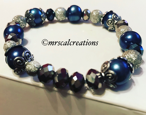 Midnight Blue And Silver Beaded Bracelet