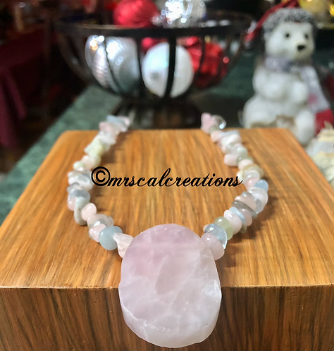 Pink Rose Quartz And Morganite Necklace