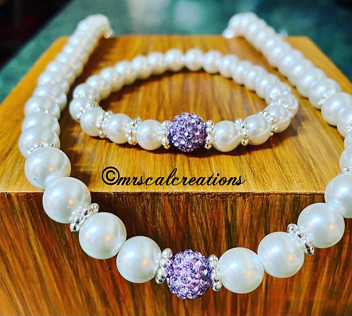 Pearl Bead Necklace And Bracelet Set