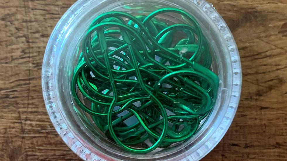 Small Pot of Stitch Marker Pins - Metallic Green