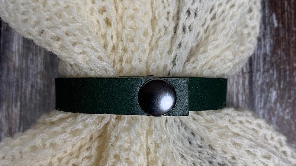 Leather Shawl Cuff - Green Thin Press Stud