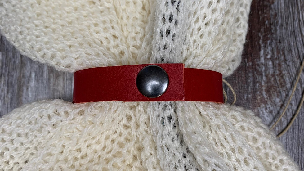 Leather Shawl Cuff - Red Thin Press Stud
