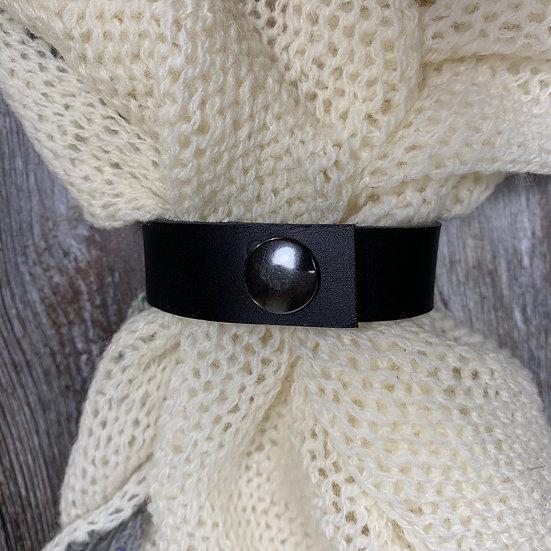Leather Shawl Cuff - Black Thin Press Stud