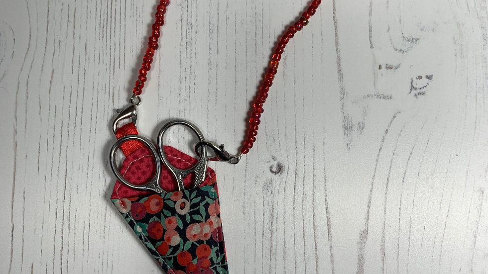 Scissor On Beaded Chain in Handmade Liberty Case