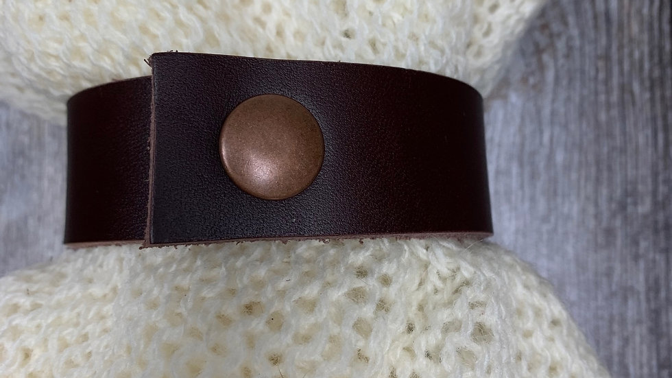 Leather Shawl Cuff - Brown Thick Press Stud