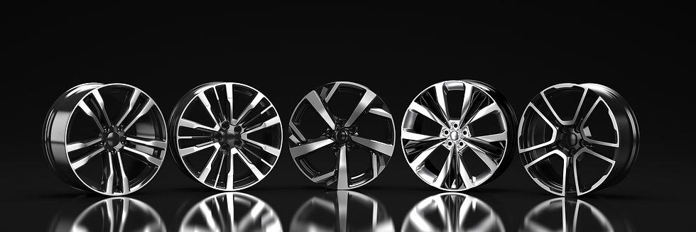 five-car-disc-black-background-3d-render