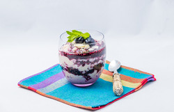 Rice pudding blue berries