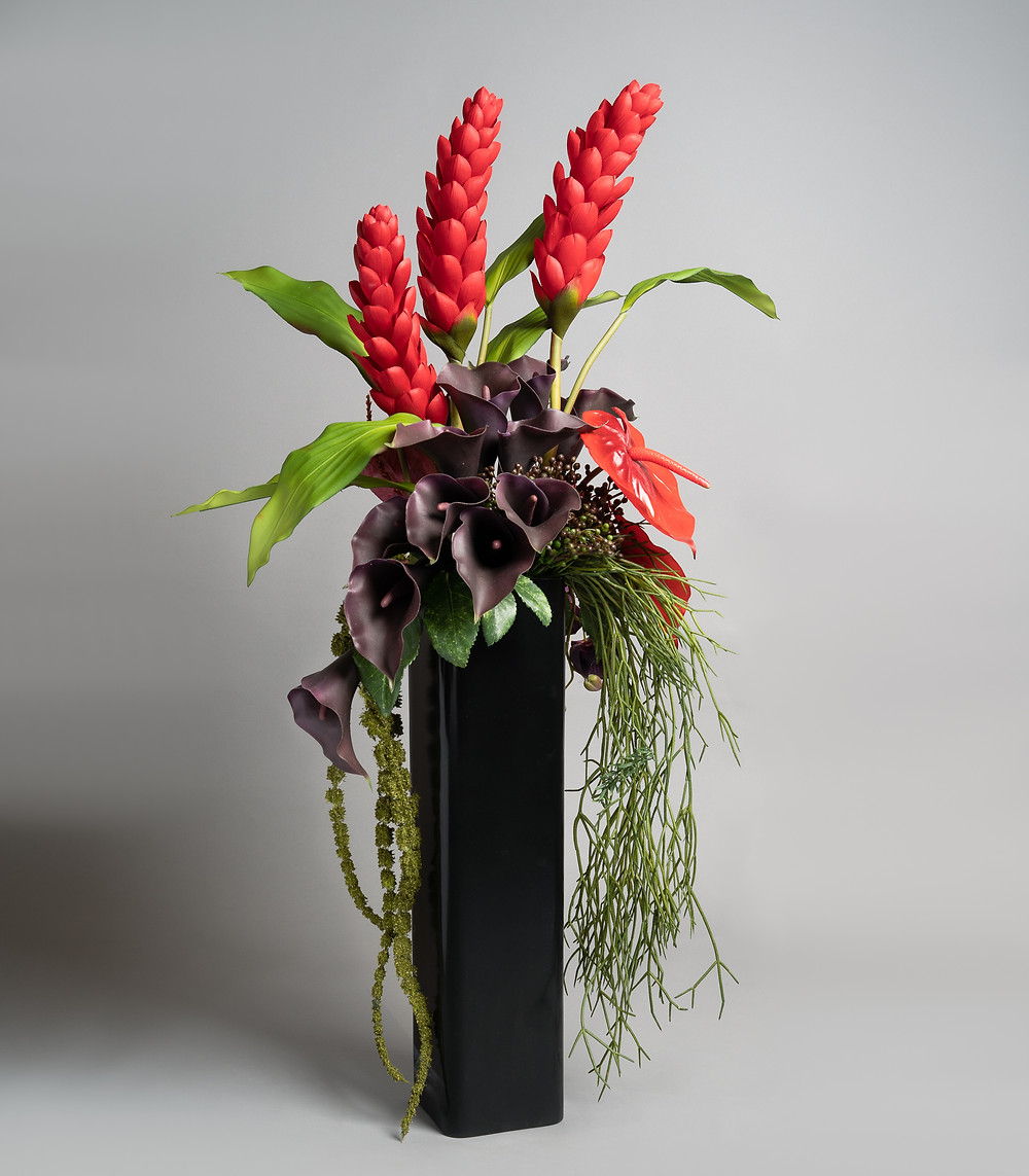 Product photography of artificial flowers.