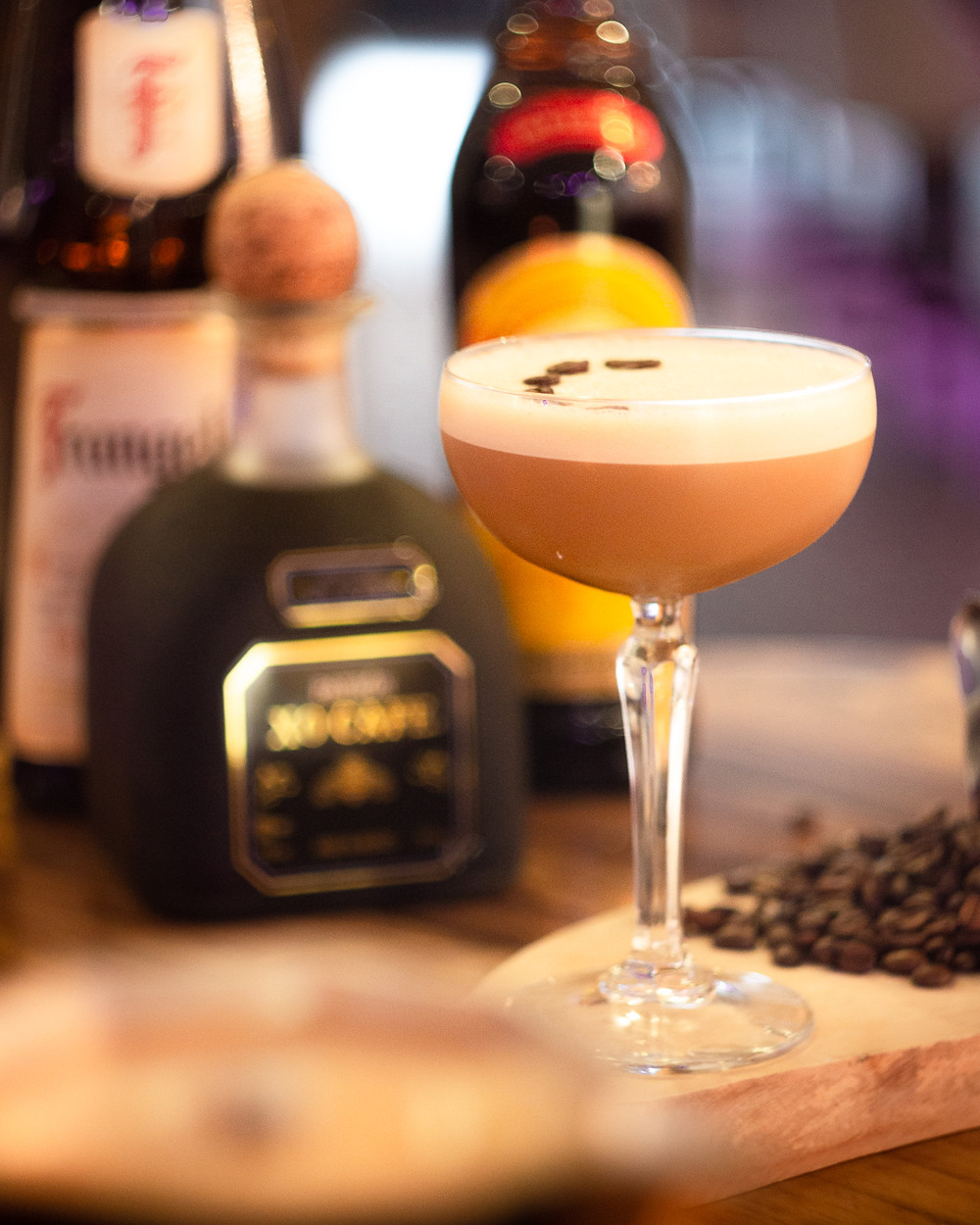 Cocktail photograph of an espresso martini.