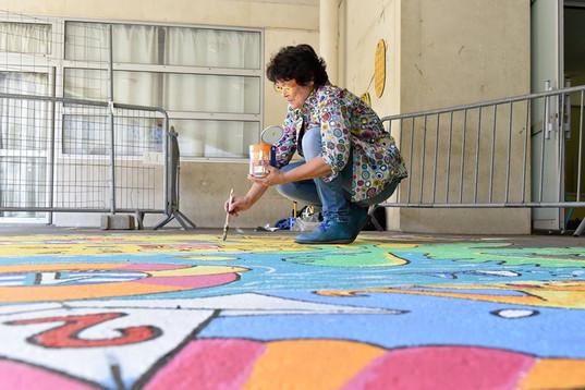 Jeu de cour peint au sol 25m2