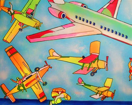 avions et boeing - acryl sur toile - 60x80