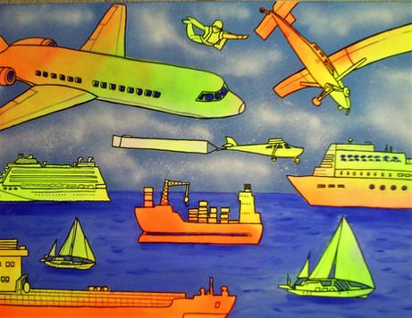 avions  bateaux et orage - acrylique sur toile - 50x70