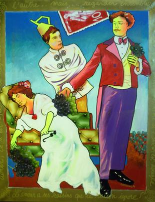"""Le coeur a ses raisins.. - serie """"Gais mariages"""" - 81x100"""