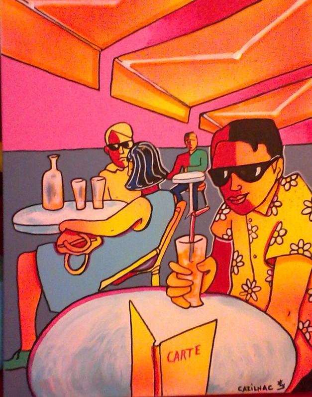 au café, l'orangeade - Acrylique sur toile - 40x50