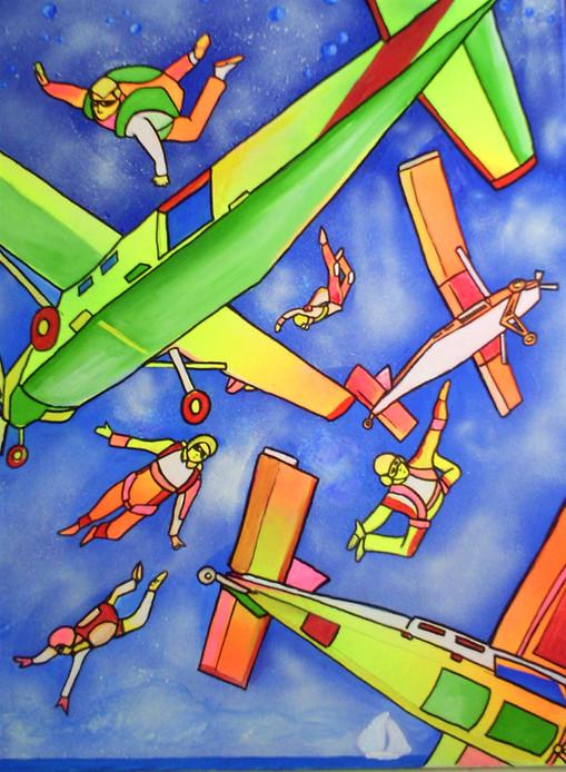 Avions et parachutistes - acryl sur toile -  50x70