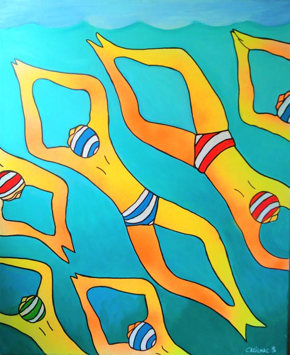 Banc de Nageurs - Acryl sur toile - 53x65