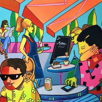 Au café, texto! - acryl sur toile 3D - 50x50
