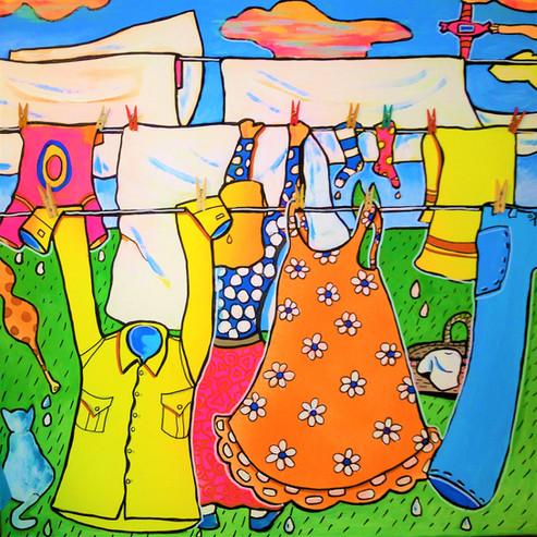 Lessive - acryl sur toile - 50x50