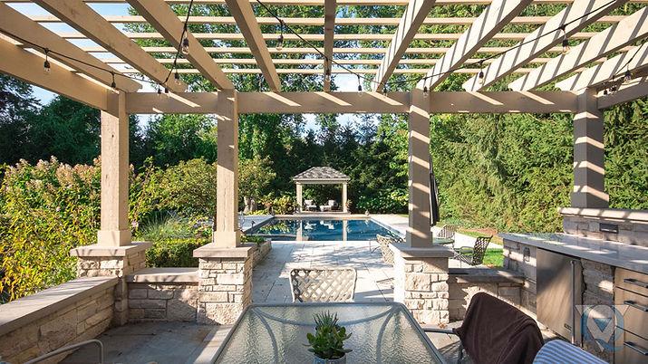 Wood awning and inground pool