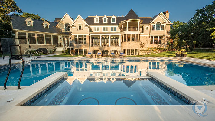 Mansion with inground pool and basketball hoop