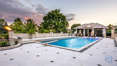 Inground Pool with diving board and patio