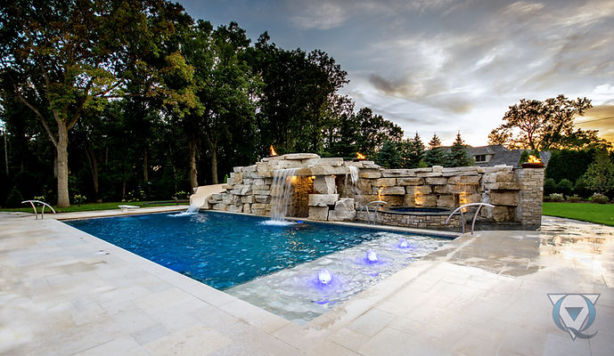 Inground Pool with rock waterfall and jacuzzi