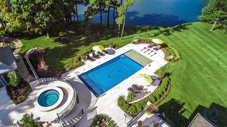 Backyard Inground Pool and Hot Tub