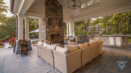 Outdoor living space with sectional couch