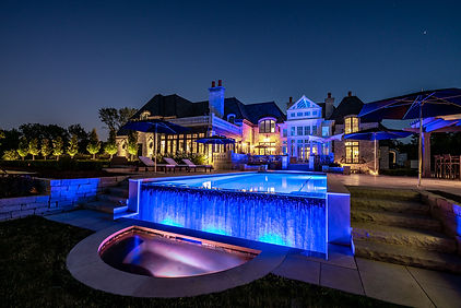 Mansion with waterfall pool