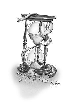 The Art of Gueguel tatouage tatoo sablier temps brisé