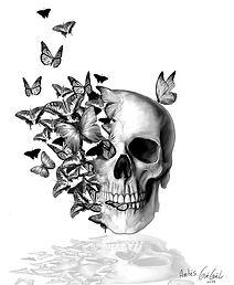 The Art of Gueguel tatouage tatoo crâne papillon