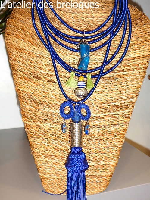 Collier en Sabra 7 rangs Bleu