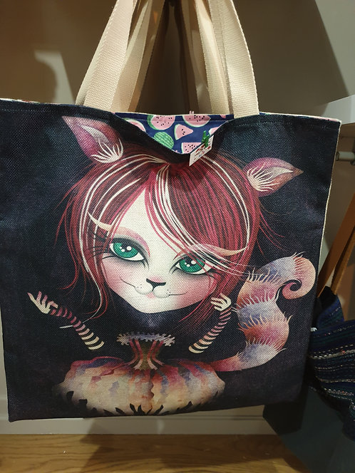 tote bag fille chat