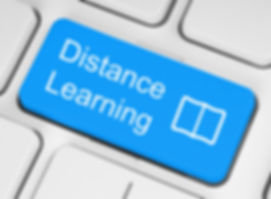 Blue distance learning button on white k