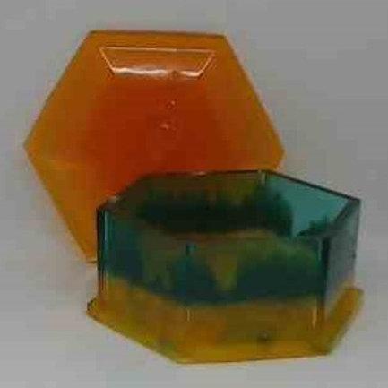 BOX WITH LID:Blue, yellow, orange