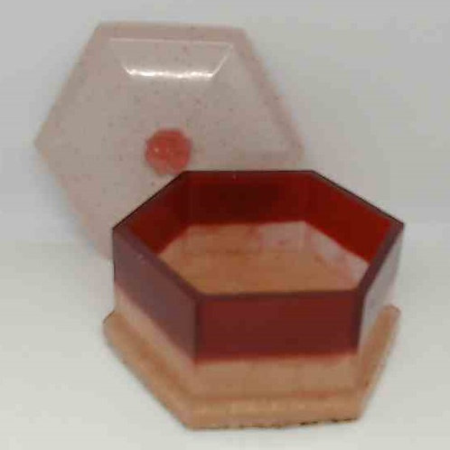 BOX WITH LID: Red, pink, beige