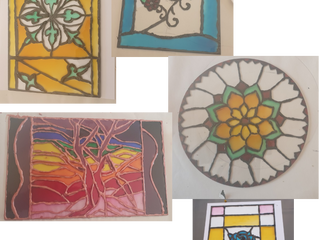 Creating some faux stained glass art...