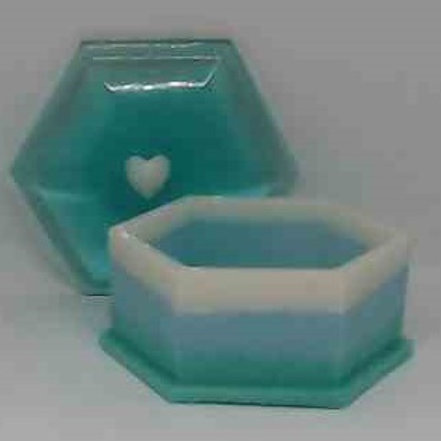 BOX WITH LID:Turquoise, white