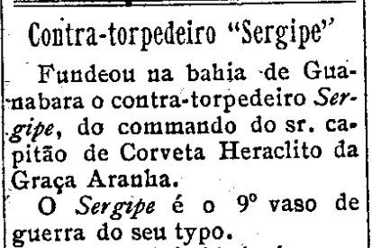 Contra-torpedeiro Sergipe - Correio de Aracaju, 1 de janeiro de 1911 - arquivo 0