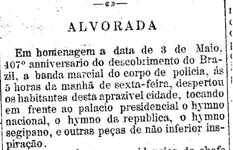 Descobrimento do Brasil -  Folha de Sergipe, Aracaju 9 de janeiro de 1908.jpg