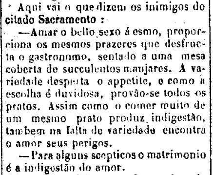 Inimigos do casamento -  Jornal do Aracaju, 1o de fevereiro de 1873 - arquivo 00
