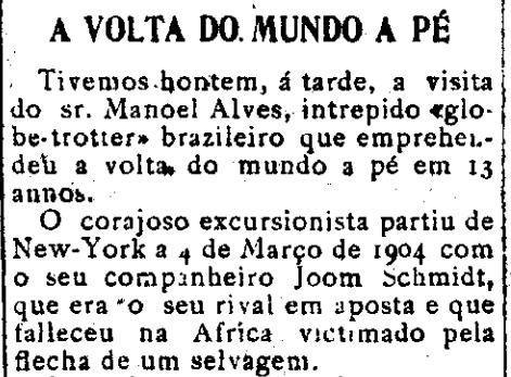 Volta ao mundo a pé -  Diário da Manhã, Aracaju 30 de novembro de 1912.jpg
