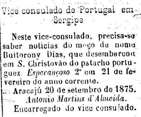 Vice consulado de Portugal - Jornal do Aracaju, 29 de setembro de 1875.jpg