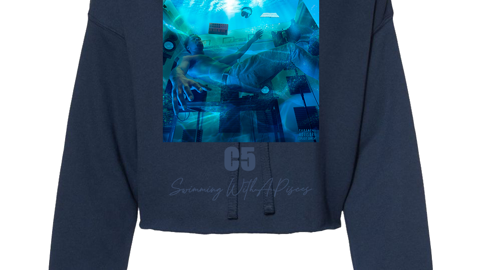 Swimming With A Pisces Crop Hoodie