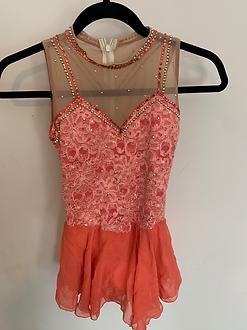 Beautiful auburn color, lace and jeweled dress with chiffon skirt.